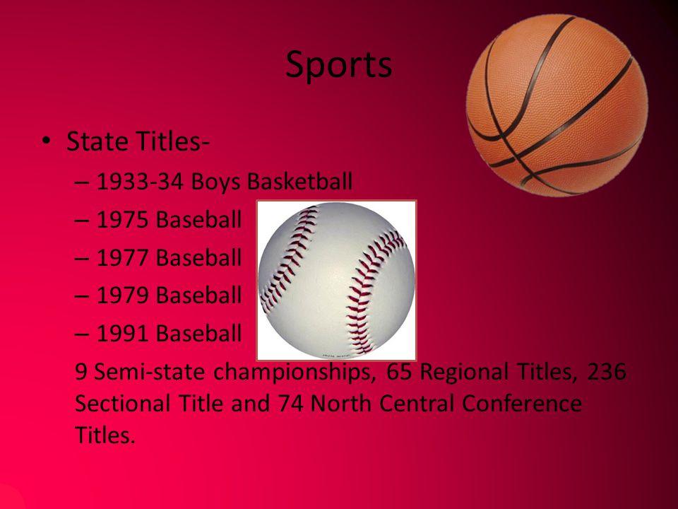 Sports State Titles- – 1933-34 Boys Basketball – 1975 Baseball – 1977 Baseball – 1979 Baseball – 1991 Baseball 9 Semi-state championships, 65 Regional