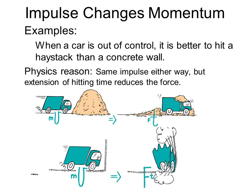 Examples: When a car is out of control, it is better to hit a haystack than a concrete wall. Physics reason: Same impulse either way, but extension of