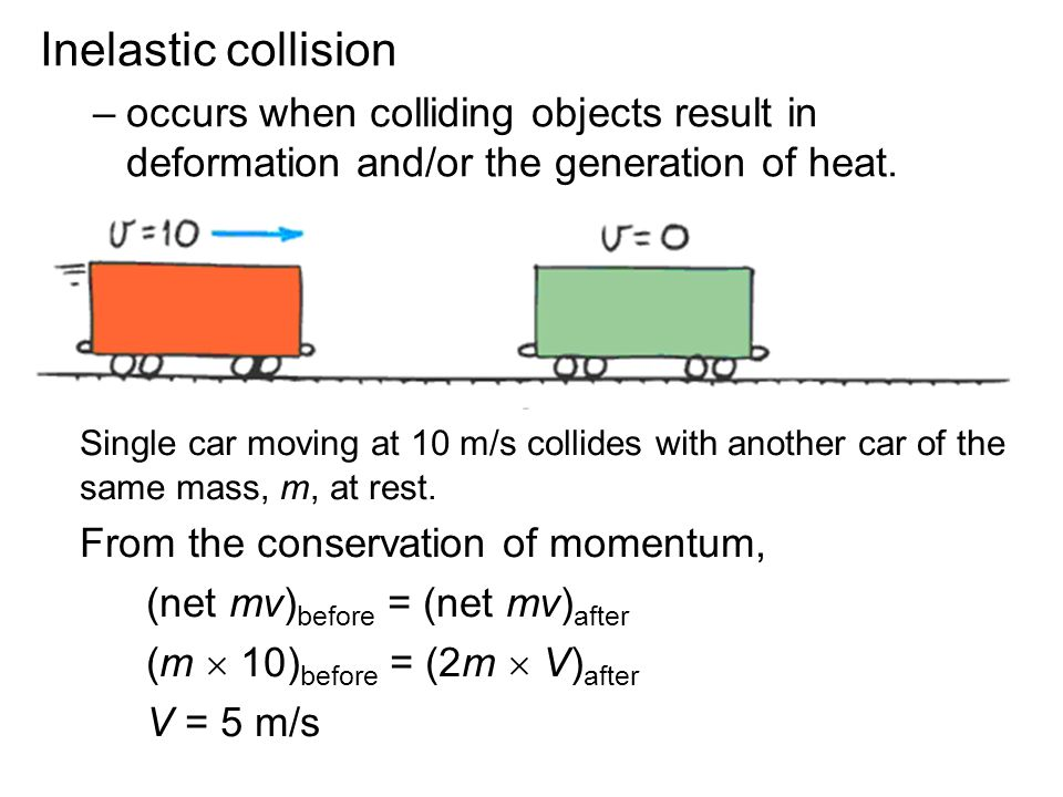 Inelastic collision –occurs when colliding objects result in deformation and/or the generation of heat. Single car moving at 10 m/s collides with anot