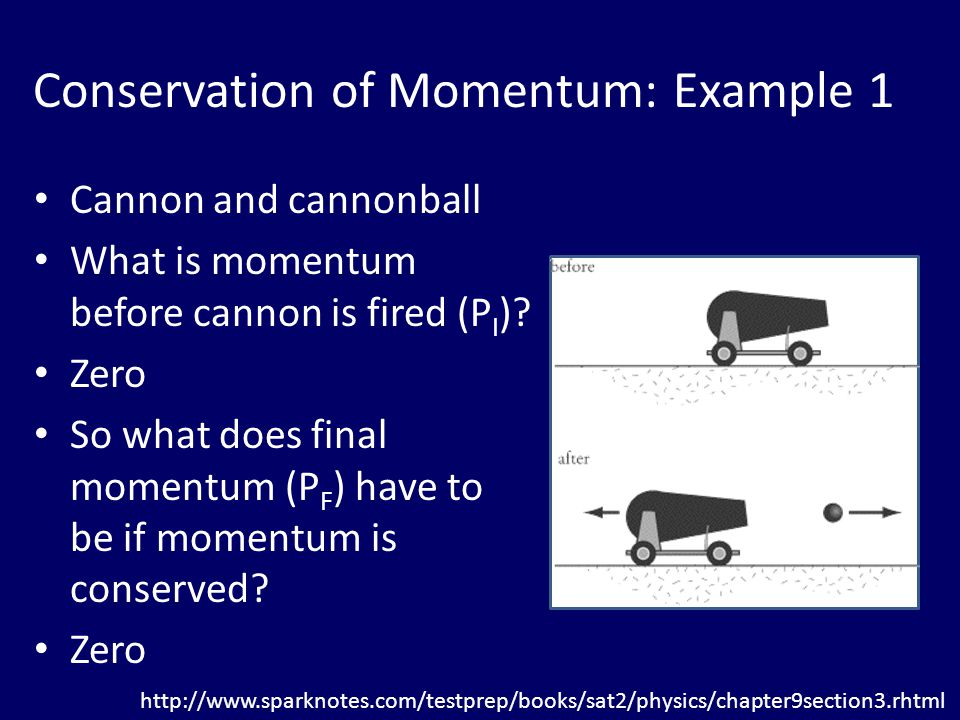 Conservation of Momentum: Example 1 Cannon and cannonball What is momentum before cannon is fired (P I ).