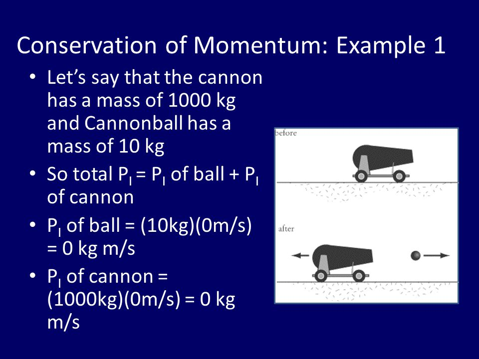 Conservation of Momentum: Example 1 Let's say that the cannon has a mass of 1000 kg and Cannonball has a mass of 10 kg So total P I = P I of ball + P