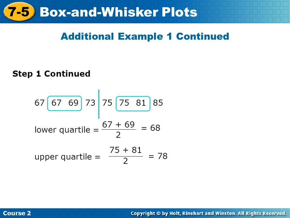 Additional Example 1 Continued Course 2 7-5 Box-and-Whisker Plots 67 697375 8185 lower quartile = 67 + 69 2 = 68 upper quartile = 75 + 81 2 = 78 Step