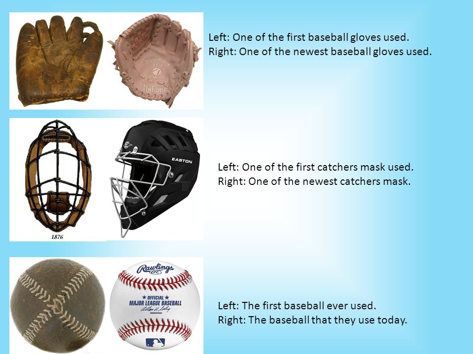 Left: One of the first baseball gloves used. Right: One of the newest baseball gloves used.