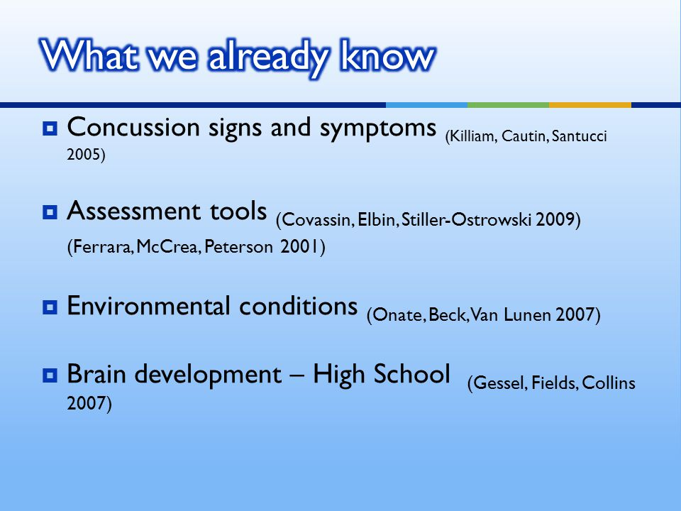  No significant difference  Learning curve for both tests  Signs and symptoms of concussions and environments will change scores