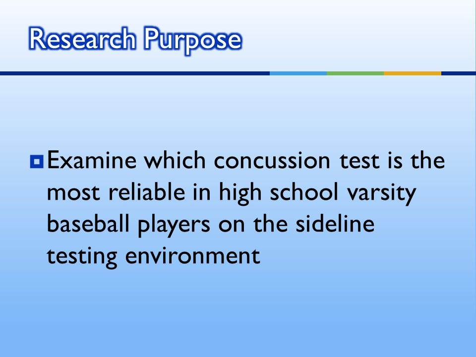  Accepted Hypothesis  There will be no significant difference between the SAC and KD tests on the sideline  When comparing the KD test on the sideline and controlled environment there will be a significant difference  Refuted Hypothesis  When comparing the SAC test on the sideline and controlled environment there will be a significant difference