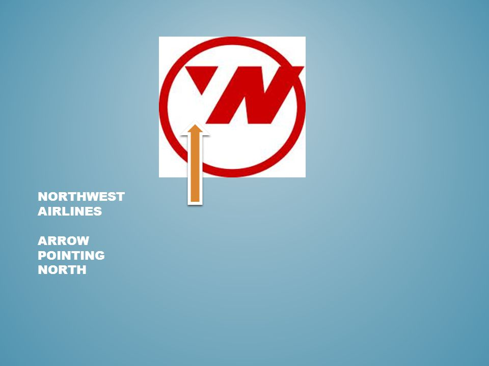 NORTHWEST AIRLINES ARROW POINTING NORTH