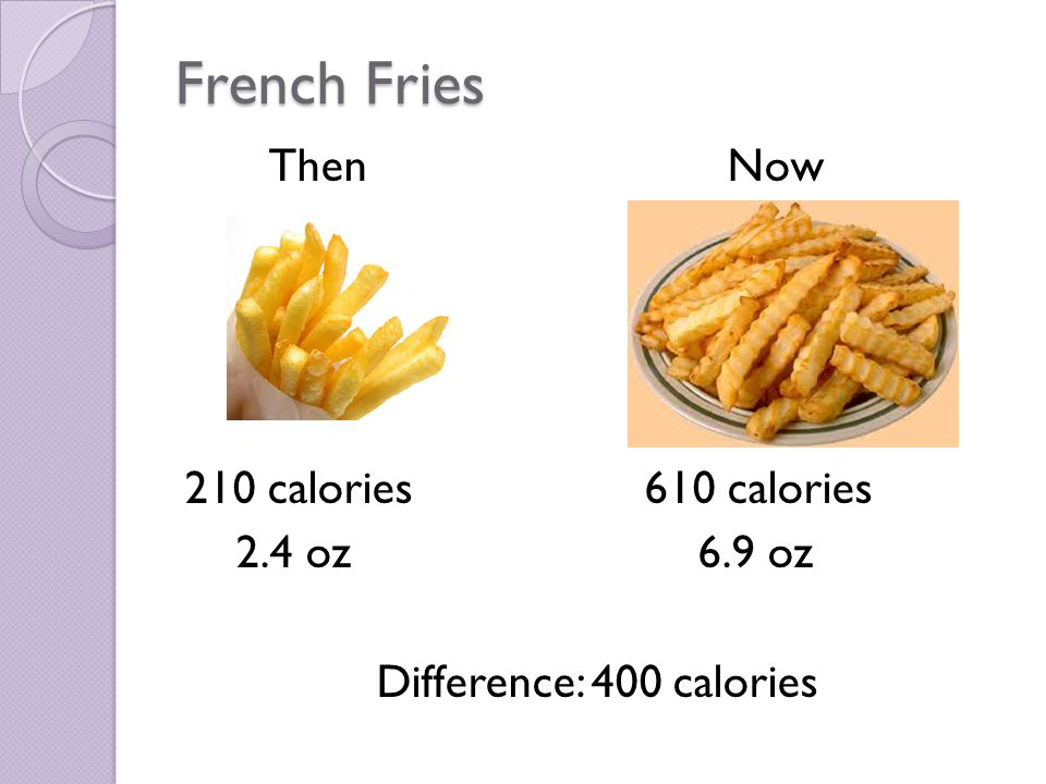French Fries Then Now 210 calories 610 calories 2.4 oz6.9 oz Difference: 400 calories