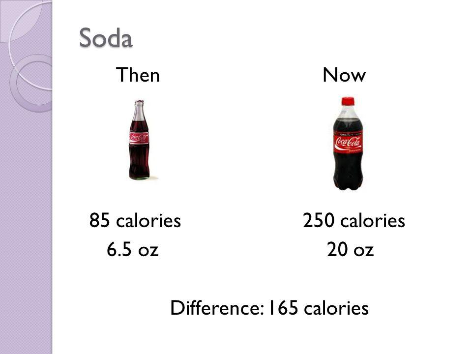 Soda Then Now 85 calories 250 calories 6.5 oz 20 oz Difference: 165 calories