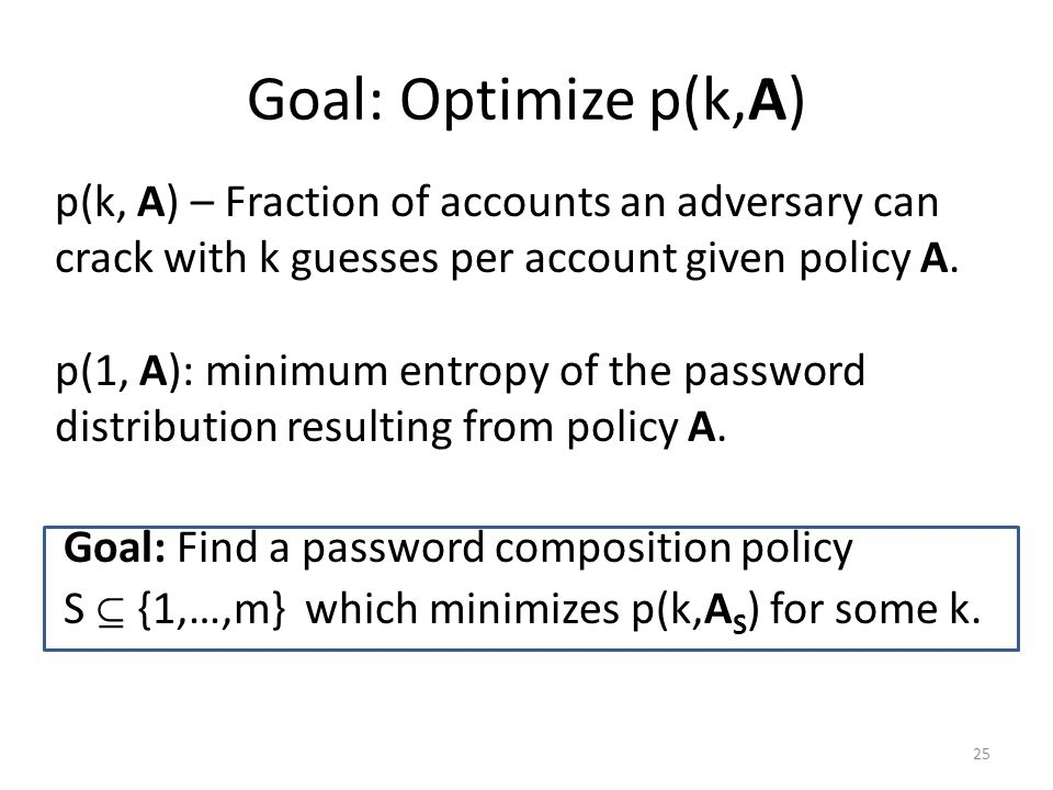 Goal: Optimize p(k,A) Goal: Find a password composition policy S  {1,…,m} which minimizes p(k,A S ) for some k.