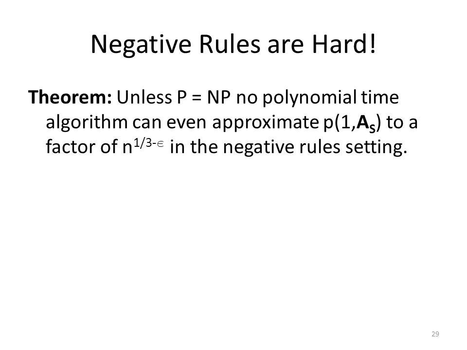 Negative Rules are Hard.