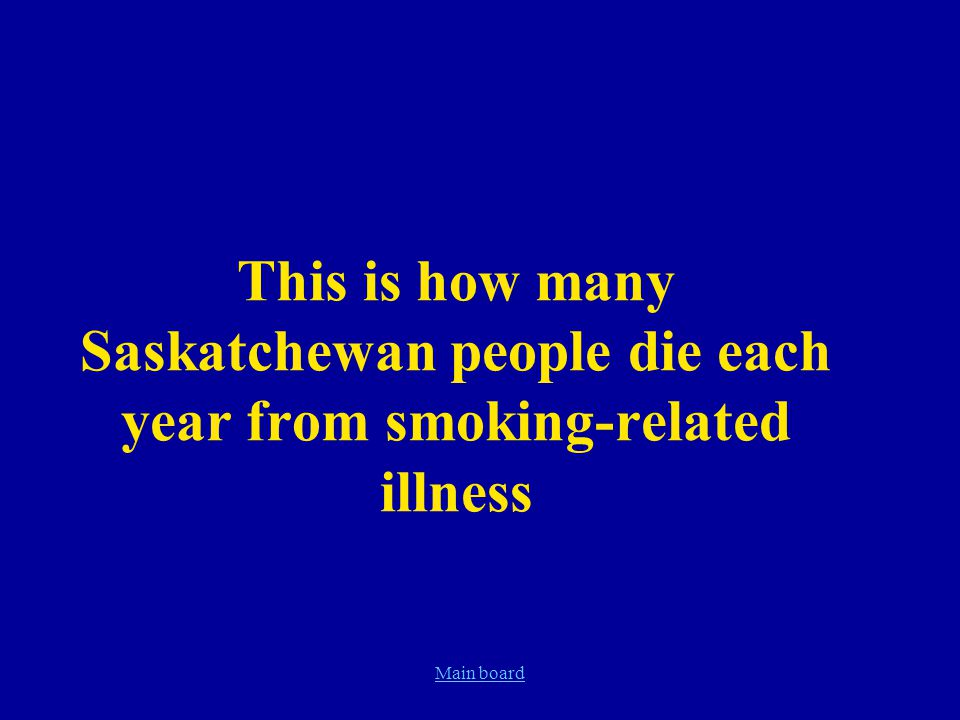 Main board This is how many Saskatchewan people die each year from smoking-related illness