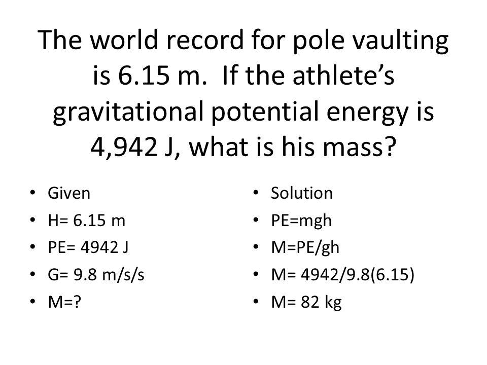 Energy problems Worksheet 1. KE= ½ mv 2 KE= =.5(3) (5)(5) KE= 37.5 J