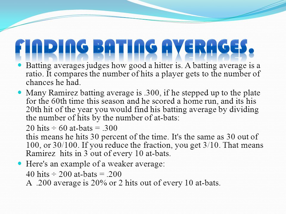 Batting averages judges how good a hitter is. A batting average is a ratio.