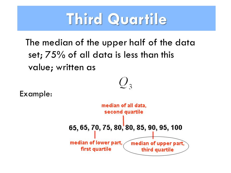 Third Quartile The median of the upper half of the data set; 75% of all data is less than this value; written as Example:
