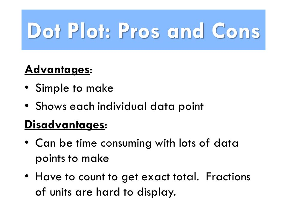 Dot Plot: Pros and Cons Advantages: Simple to make Shows each individual data point Disadvantages: Can be time consuming with lots of data points to make Have to count to get exact total.