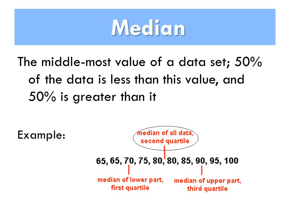 Median Median The middle-most value of a data set; 50% of the data is less than this value, and 50% is greater than it Example: