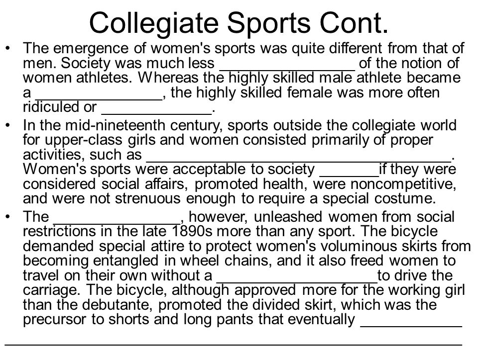 Collegiate Sports Cont.