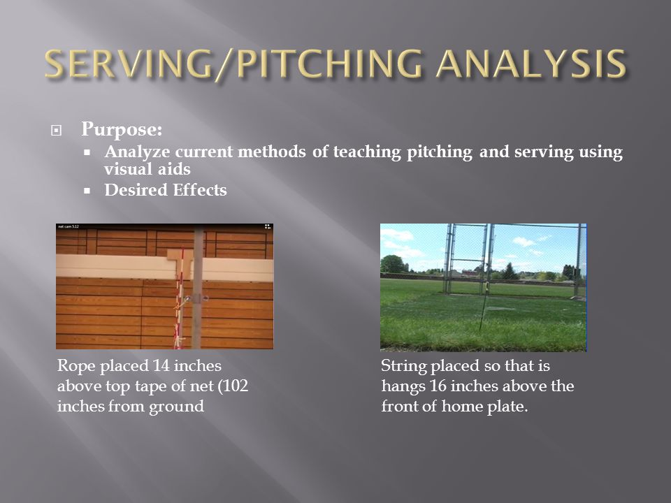 Purpose:  Analyze current methods of teaching pitching and serving using visual aids  Desired Effects Rope placed 14 inches above top tape of net (102 inches from ground String placed so that is hangs 16 inches above the front of home plate.