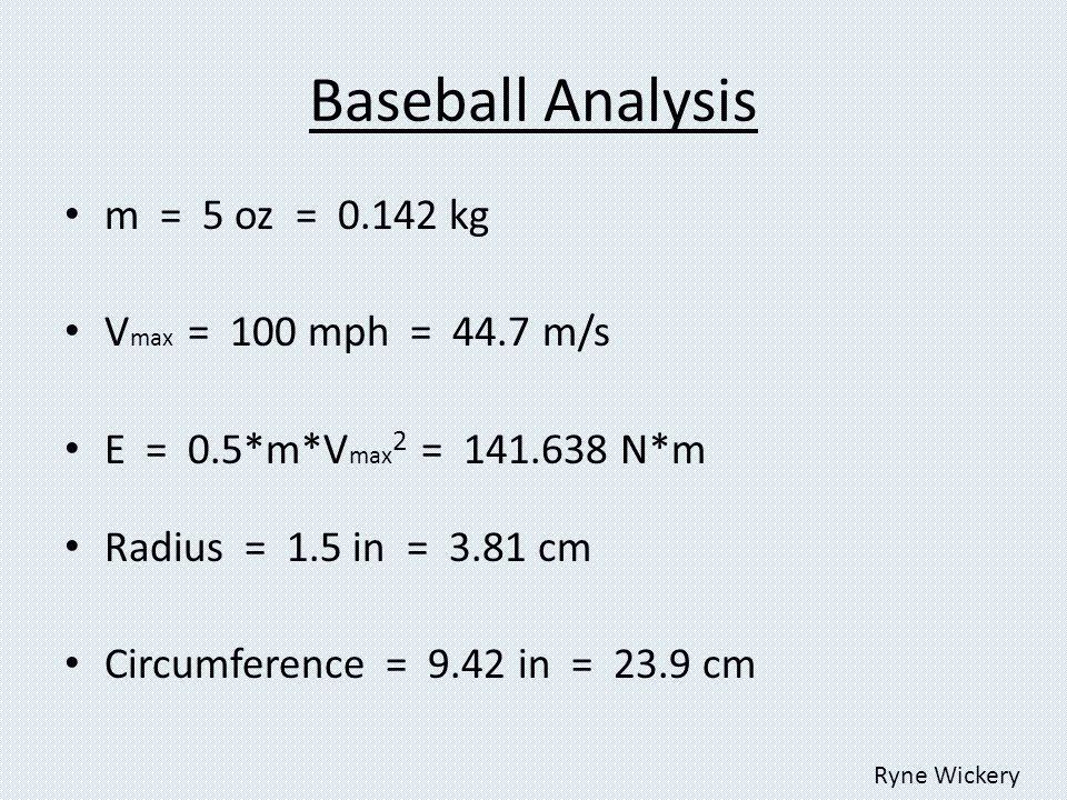 Baseball Analysis m = 5 oz = 0.142 kg V max = 100 mph = 44.7 m/s E = 0.5*m*V max 2 = 141.638 N*m Radius = 1.5 in = 3.81 cm Circumference = 9.42 in = 23.9 cm Ryne Wickery