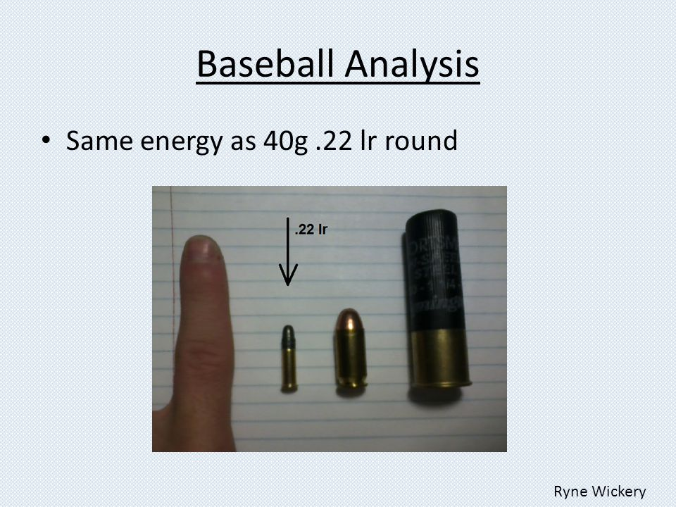 Baseball Analysis Same energy as 40g.22 lr round Ryne Wickery