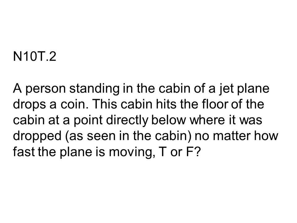 N10T.2 A person standing in the cabin of a jet plane drops a coin. This cabin hits the floor of the cabin at a point directly below where it was dropp