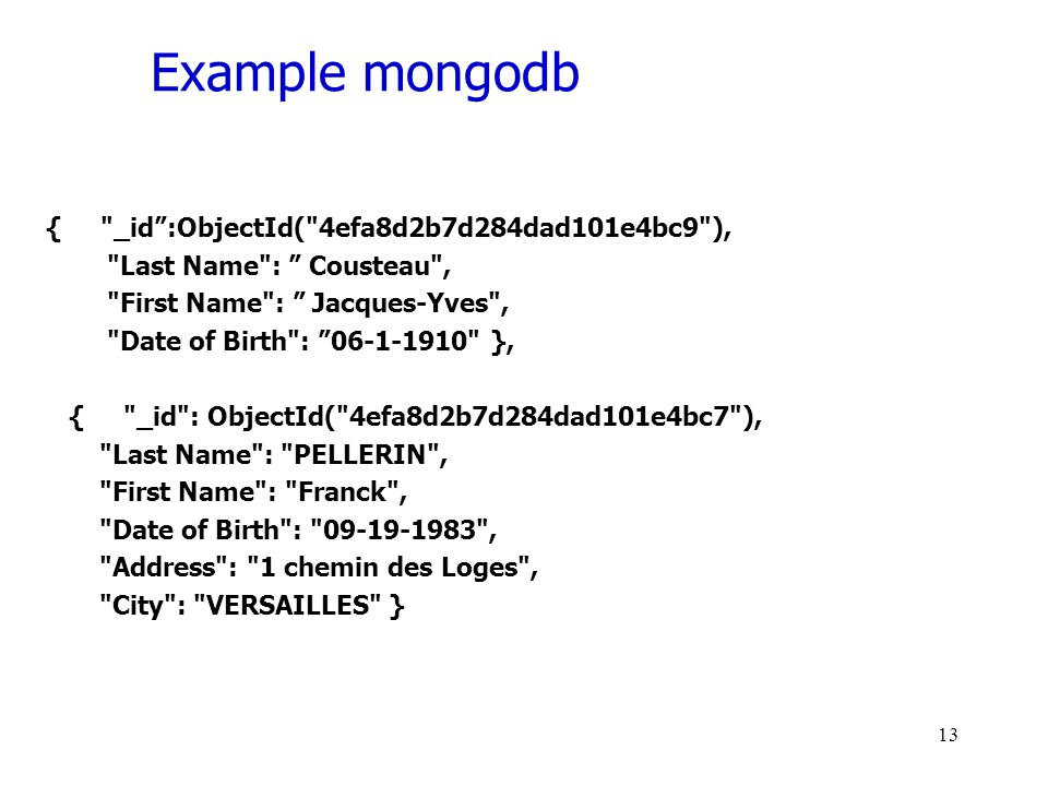 Example mongodb { _id :ObjectId( 4efa8d2b7d284dad101e4bc9 ), Last Name : Cousteau , First Name : Jacques-Yves , Date of Birth : 06-1-1910 }, { _id : ObjectId( 4efa8d2b7d284dad101e4bc7 ), Last Name : PELLERIN , First Name : Franck , Date of Birth : 09-19-1983 , Address : 1 chemin des Loges , City : VERSAILLES } 13
