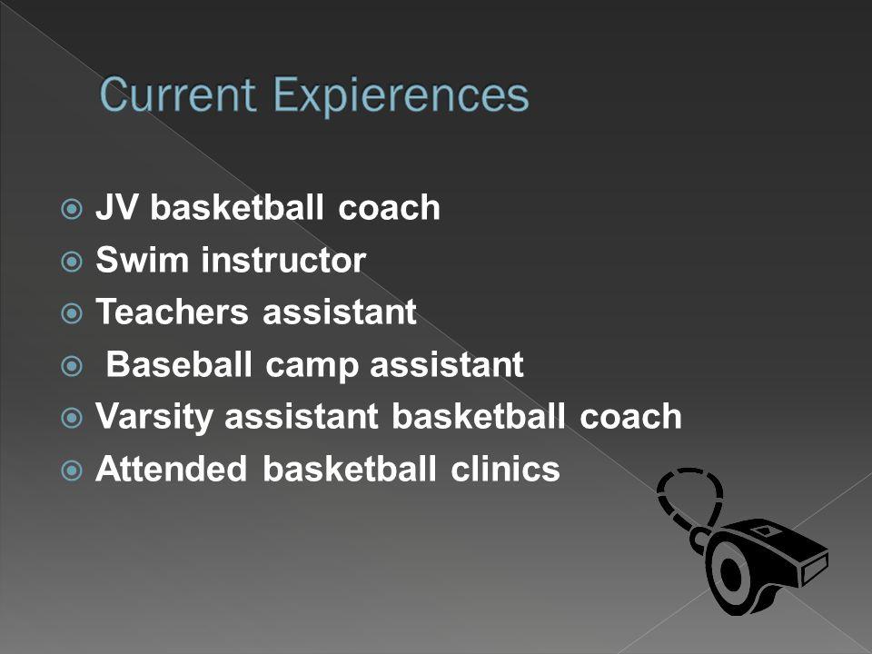  JV basketball coach  Swim instructor  Teachers assistant  Baseball camp assistant  Varsity assistant basketball coach  Attended basketball clinics