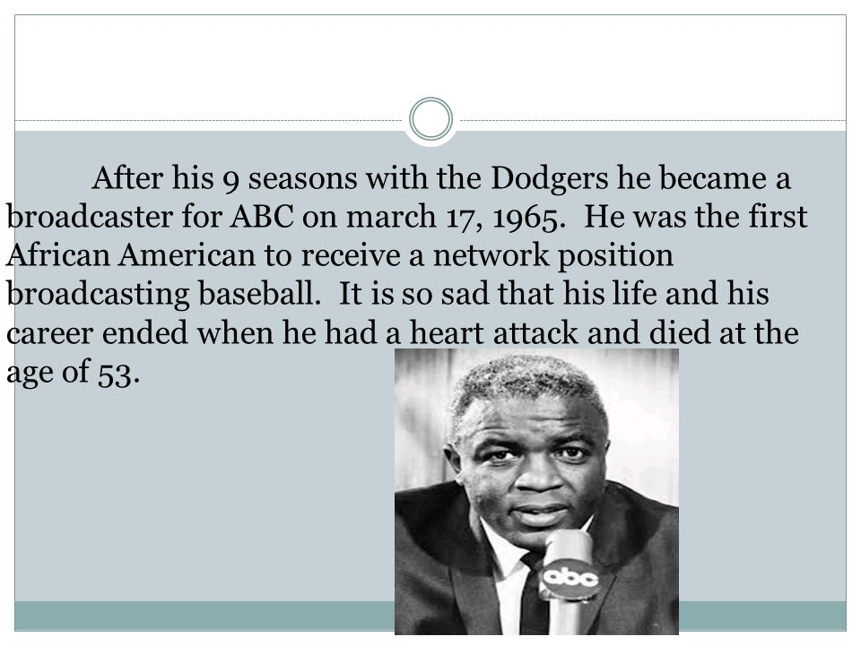 After his 9 seasons with the Dodgers he became a broadcaster for ABC on march 17, 1965.