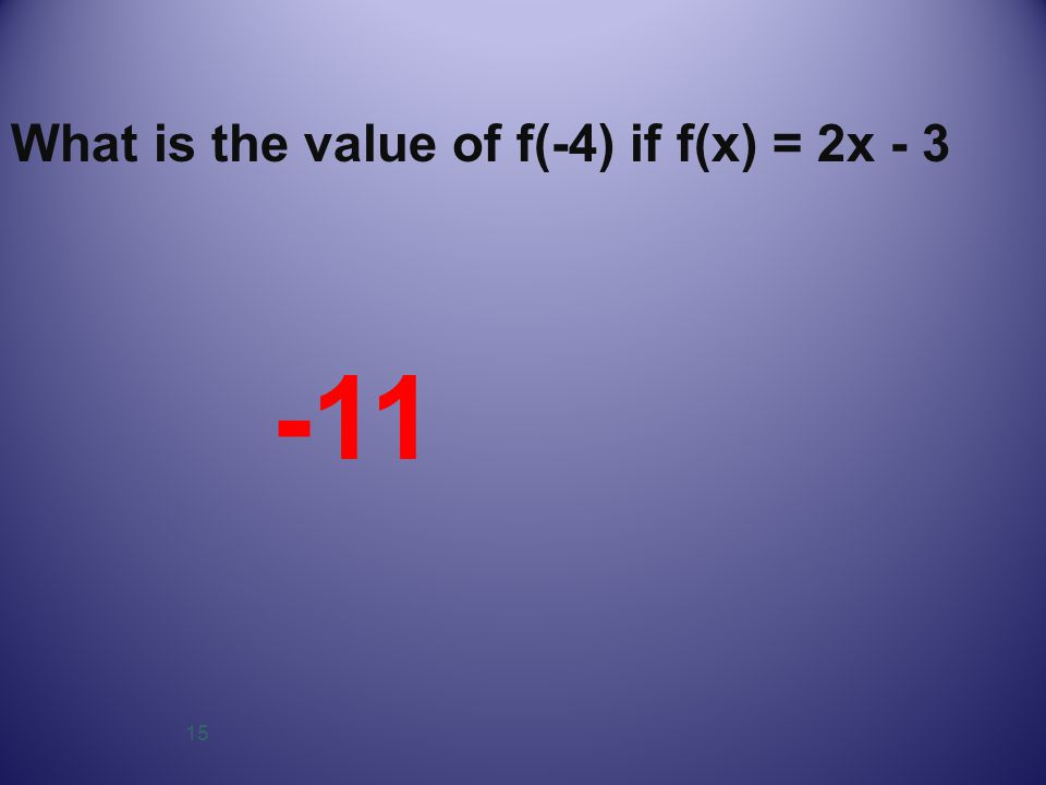 15 What is the value of f(-4) if f(x) = 2x - 3 -11