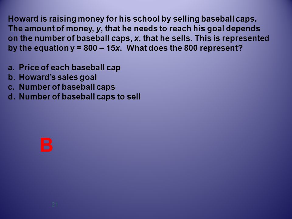 21 Howard is raising money for his school by selling baseball caps. The amount of money, y, that he needs to reach his goal depends on the number of b