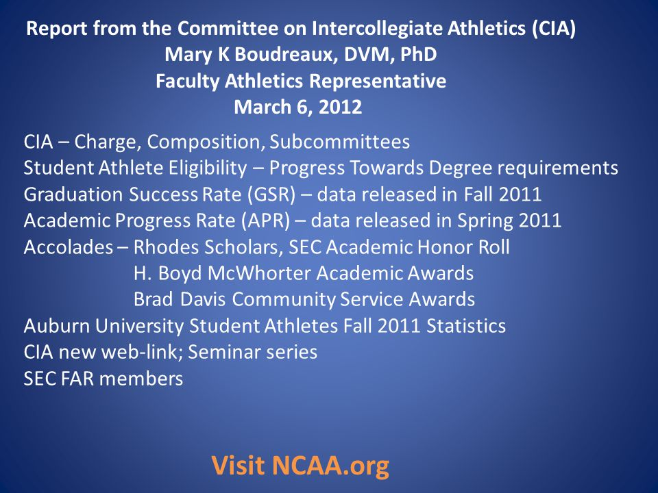 Report from the Committee on Intercollegiate Athletics (CIA) Mary K Boudreaux, DVM, PhD Faculty Athletics Representative March 6, 2012 CIA – Charge, C