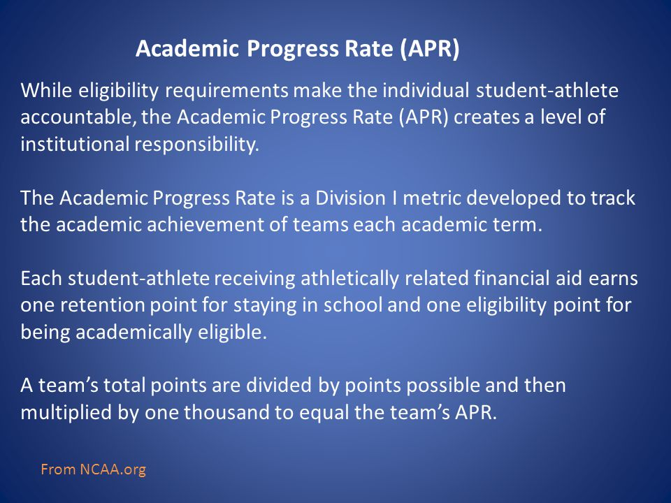While eligibility requirements make the individual student-athlete accountable, the Academic Progress Rate (APR) creates a level of institutional resp