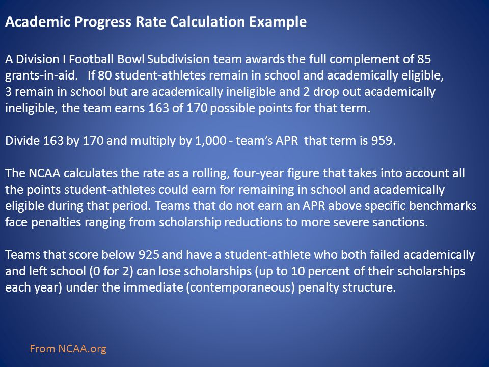 Academic Progress Rate Calculation Example A Division I Football Bowl Subdivision team awards the full complement of 85 grants-in-aid.