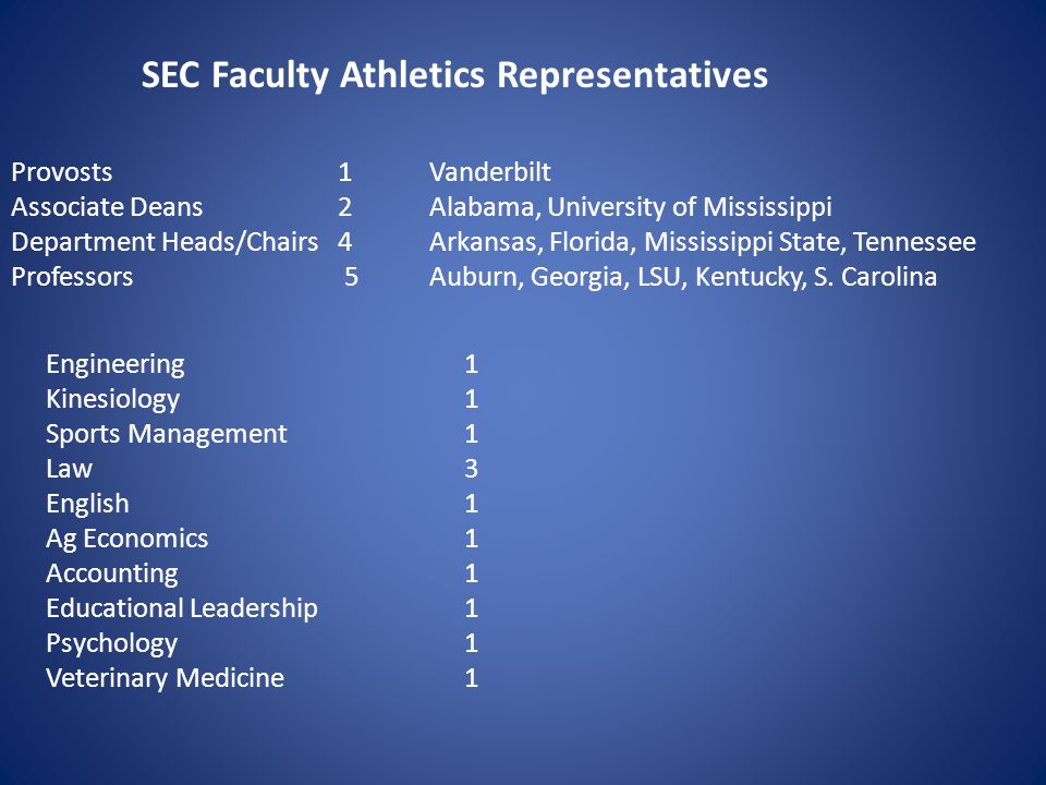 SEC Faculty Athletics Representatives Provosts 1 Vanderbilt Associate Deans 2 Alabama, University of Mississippi Department Heads/Chairs 4 Arkansas, Florida, Mississippi State, Tennessee Professors 5 Auburn, Georgia, LSU, Kentucky, S.