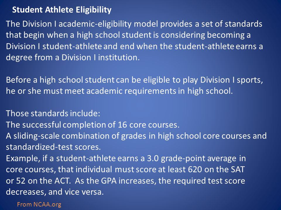 The Division I academic-eligibility model provides a set of standards that begin when a high school student is considering becoming a Division I stude