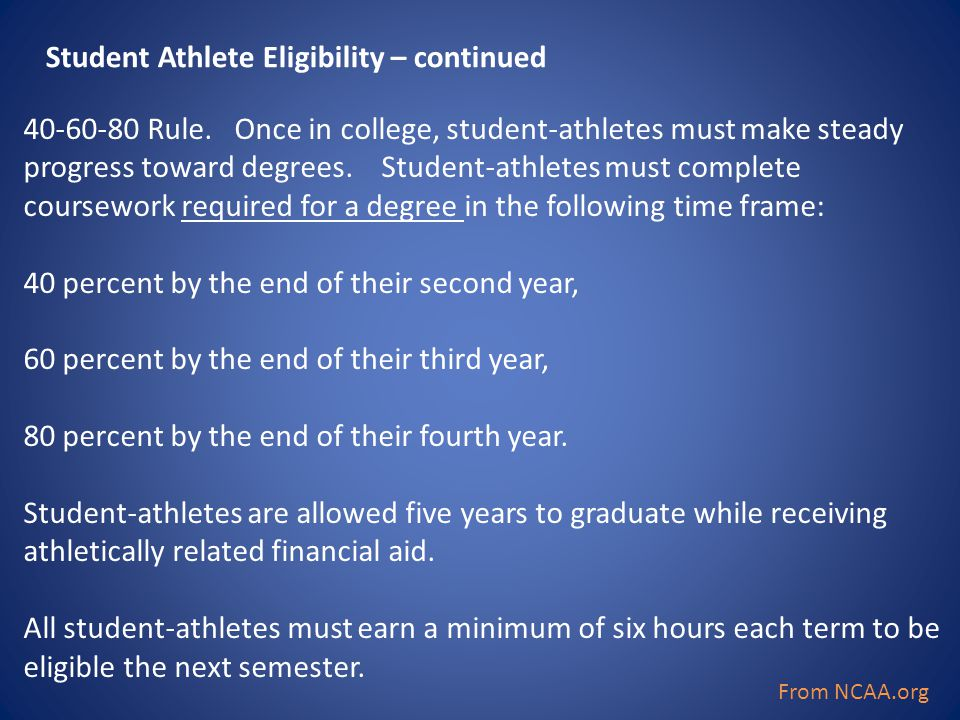40-60-80 Rule. Once in college, student-athletes must make steady progress toward degrees. Student-athletes must complete coursework required for a de