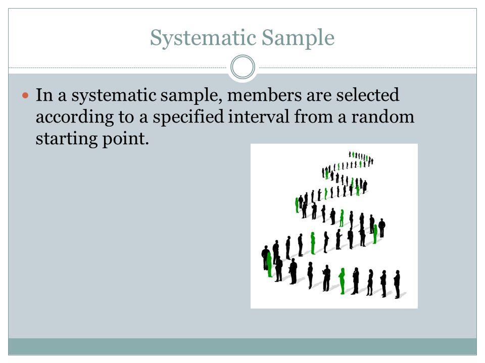 Self-Selected Sample In a self-selected sample, members volunteer to be included in the sample.