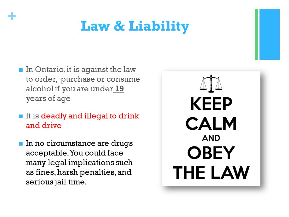 + Law & Liability In Ontario, it is against the law to order, purchase or consume alcohol if you are under 19 years of age It is deadly and illegal to drink and drive In no circumstance are drugs acceptable.