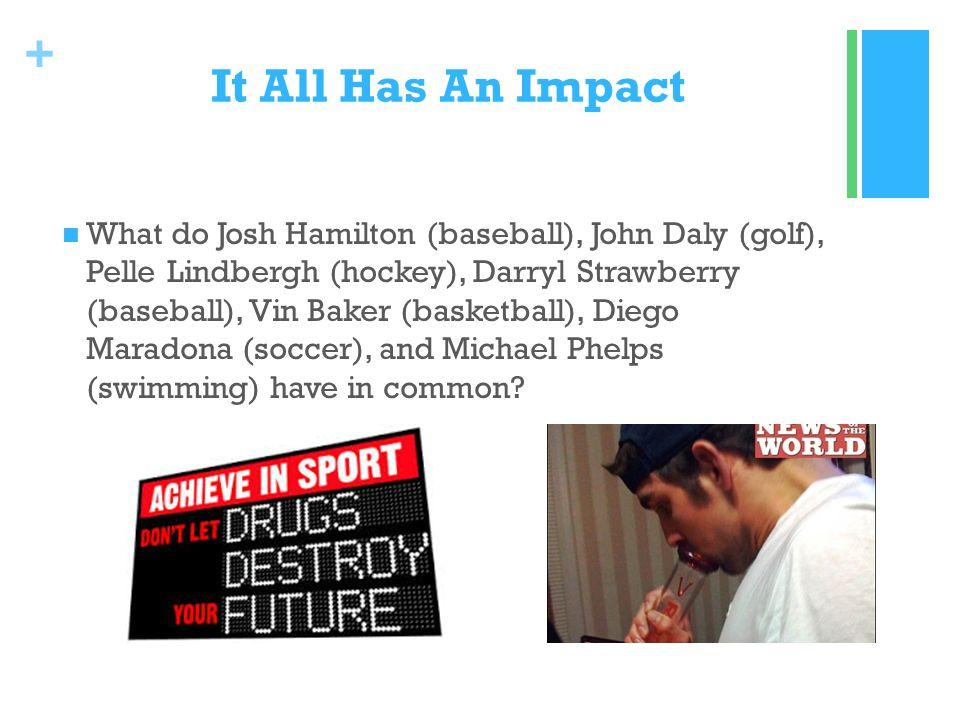 + It All Has An Impact What do Josh Hamilton (baseball), John Daly (golf), Pelle Lindbergh (hockey), Darryl Strawberry (baseball), Vin Baker (basketball), Diego Maradona (soccer), and Michael Phelps (swimming) have in common