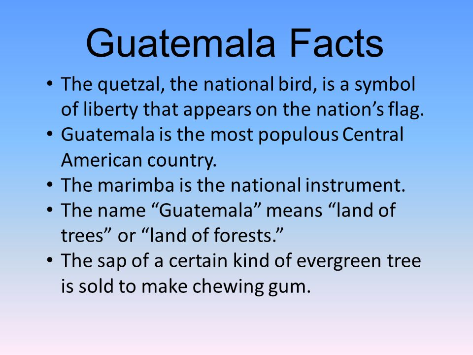 The quetzal, the national bird, is a symbol of liberty that appears on the nation's flag.