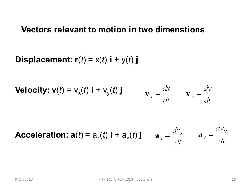 9/24/2013PHY 113 C Fall 2013-- Lecture 919 Vectors relevant to motion in two dimenstions Displacement: r(t) = x(t) i + y(t) j Velocity: v(t) = v x (t)