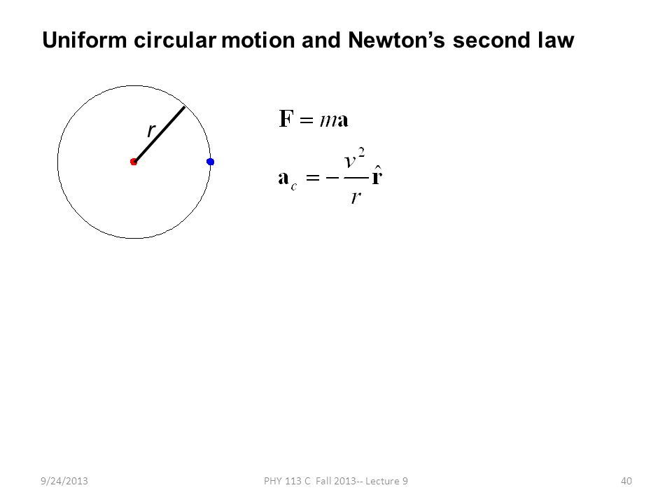 9/24/2013PHY 113 C Fall 2013-- Lecture 940 Uniform circular motion and Newton's second law r