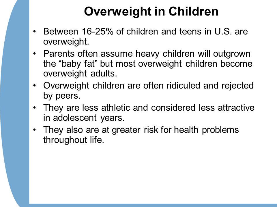 Overweight in Children Between 16-25% of children and teens in U.S.