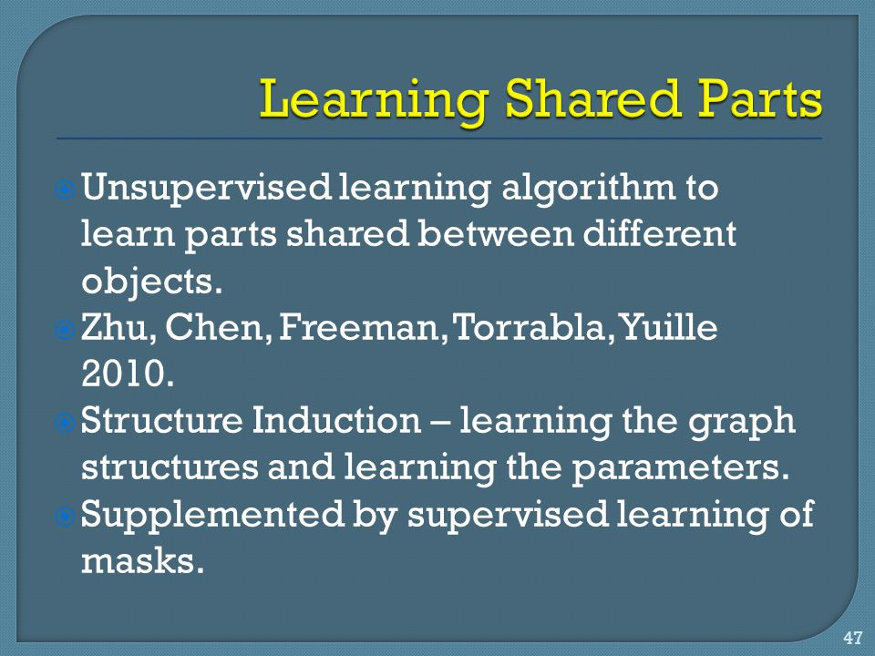  Unsupervised learning algorithm to learn parts shared between different objects.  Zhu, Chen, Freeman, Torrabla, Yuille 2010.  Structure Induction