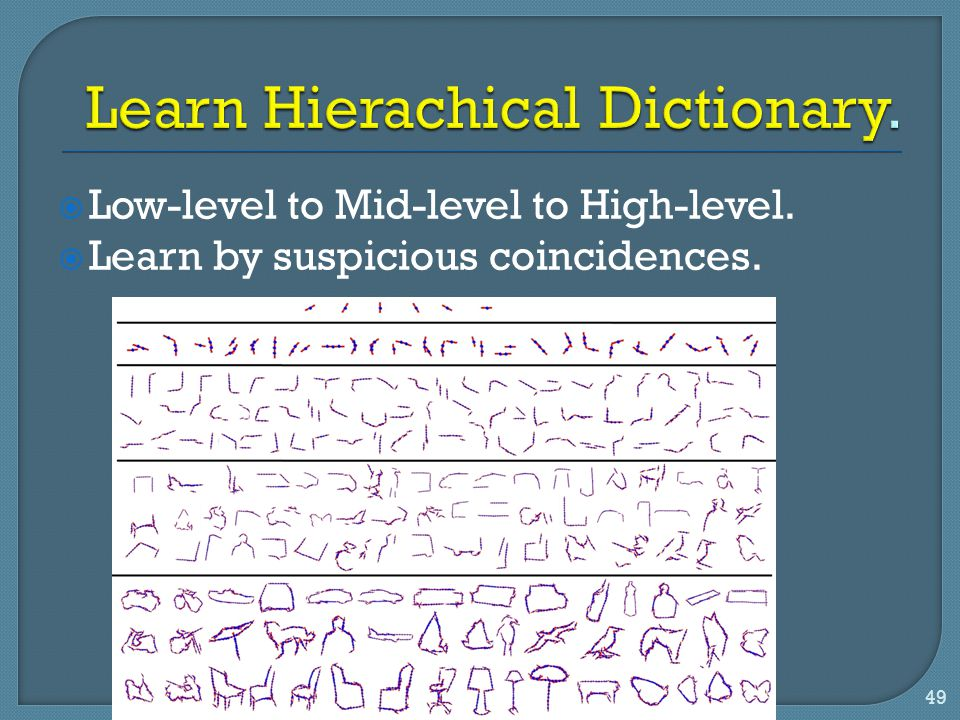  Low-level to Mid-level to High-level.  Learn by suspicious coincidences. 49