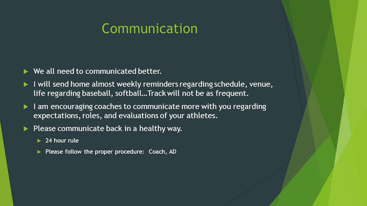 Communication  We all need to communicated better.