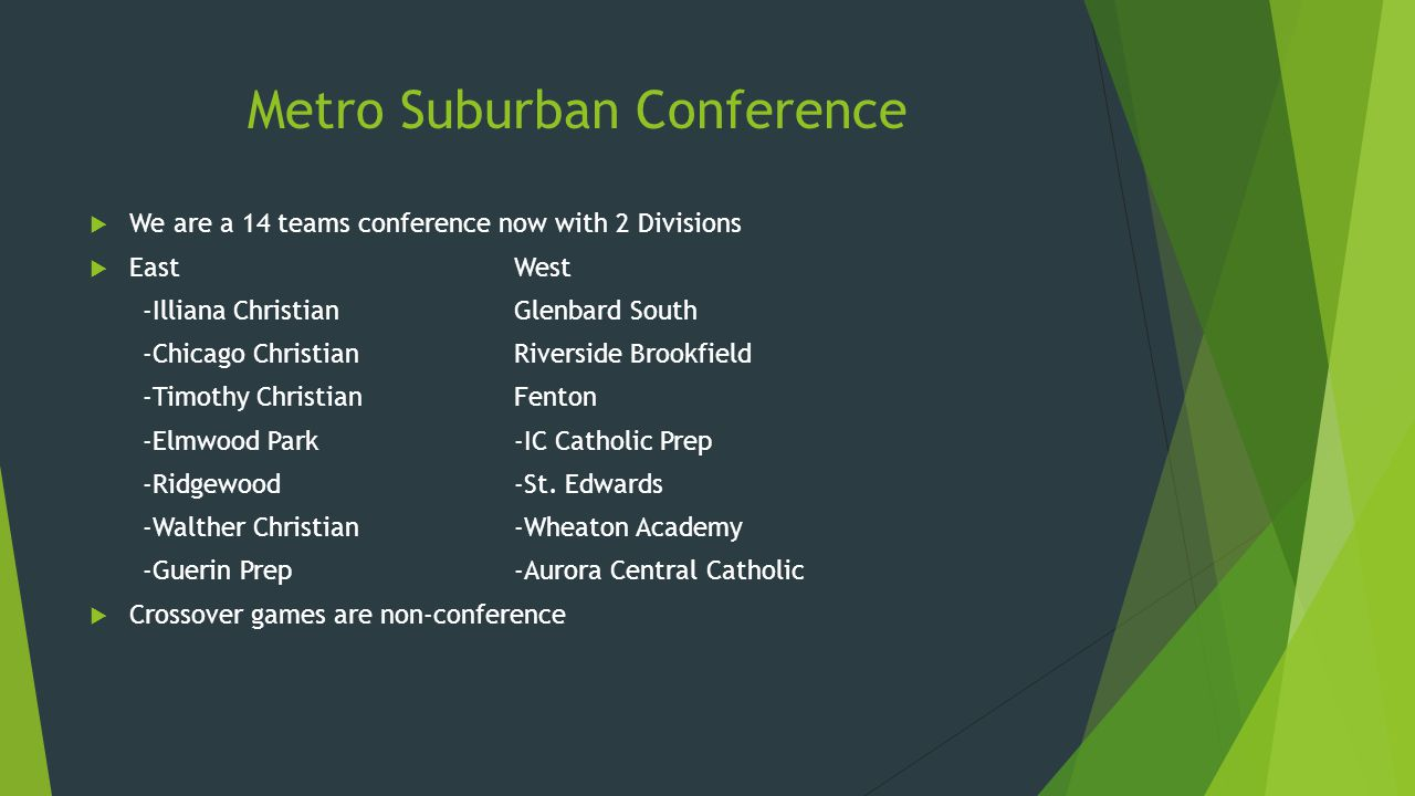 Metro Suburban Conference  We are a 14 teams conference now with 2 Divisions  EastWest -Illiana ChristianGlenbard South -Chicago ChristianRiverside Brookfield -Timothy ChristianFenton -Elmwood Park-IC Catholic Prep -Ridgewood-St.