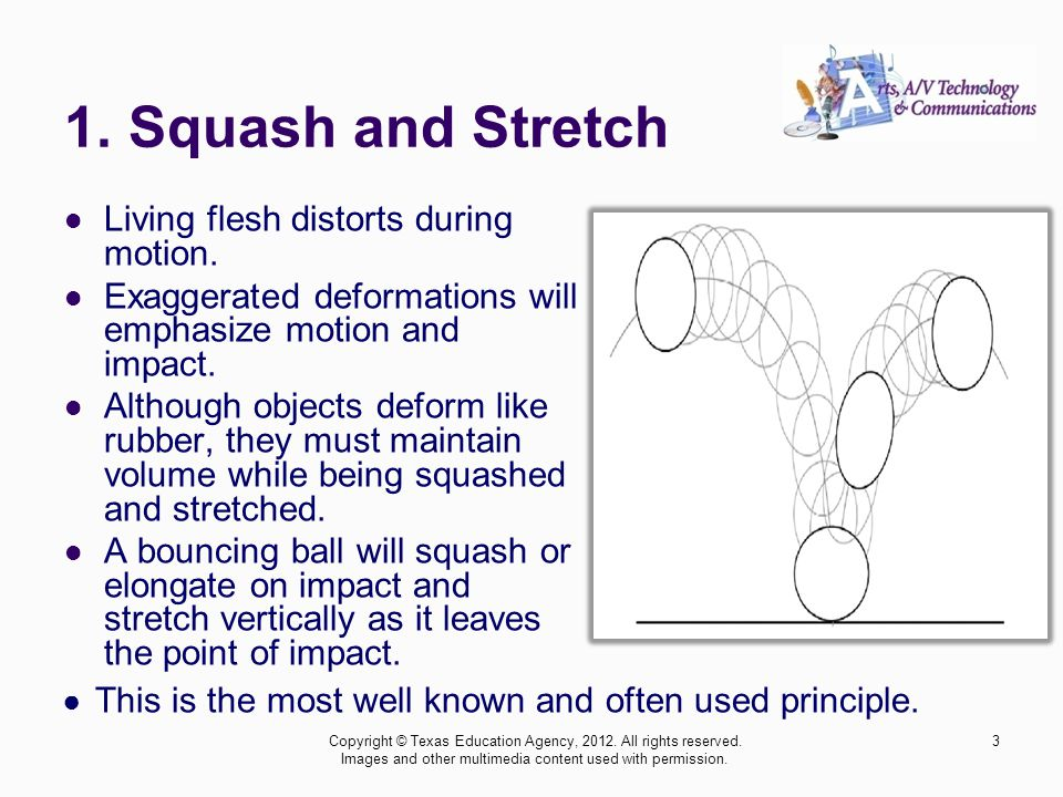 1. Squash and Stretch Living flesh distorts during motion.
