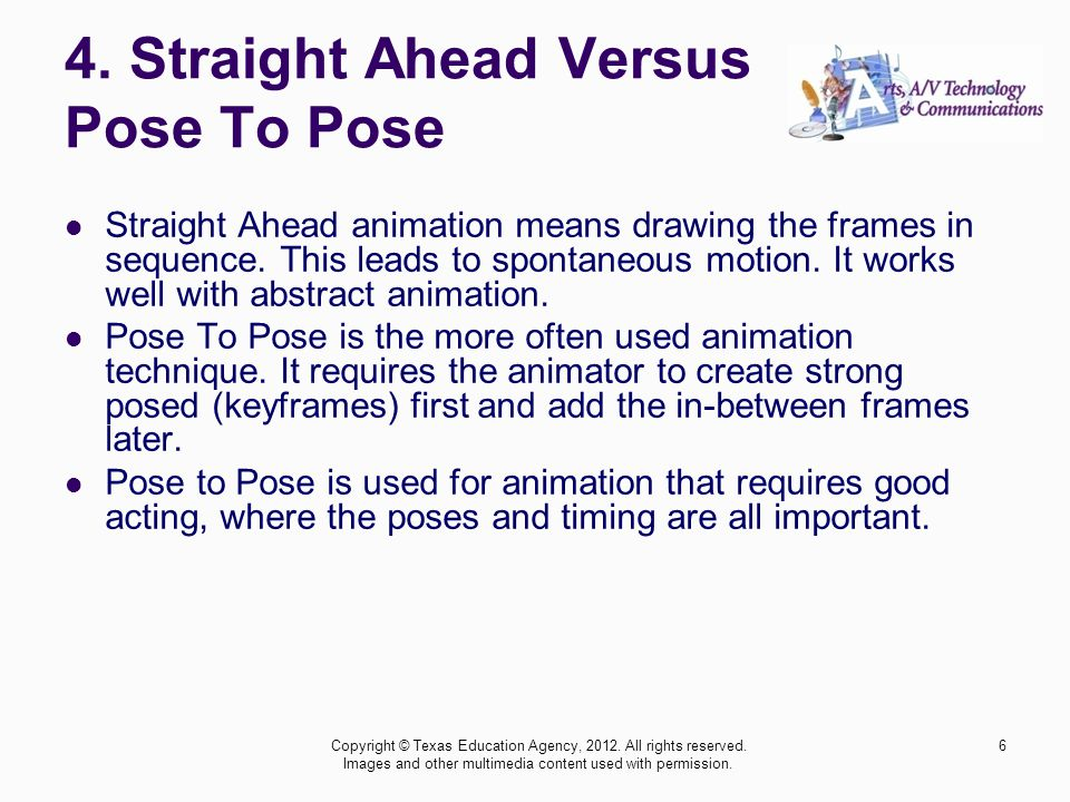 4. Straight Ahead Versus Pose To Pose Straight Ahead animation means drawing the frames in sequence. This leads to spontaneous motion. It works well w