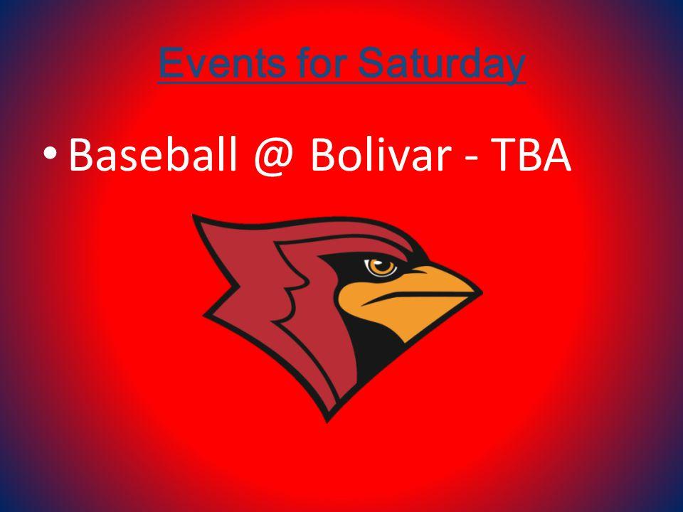 Events for Saturday Baseball @ Bolivar - TBA